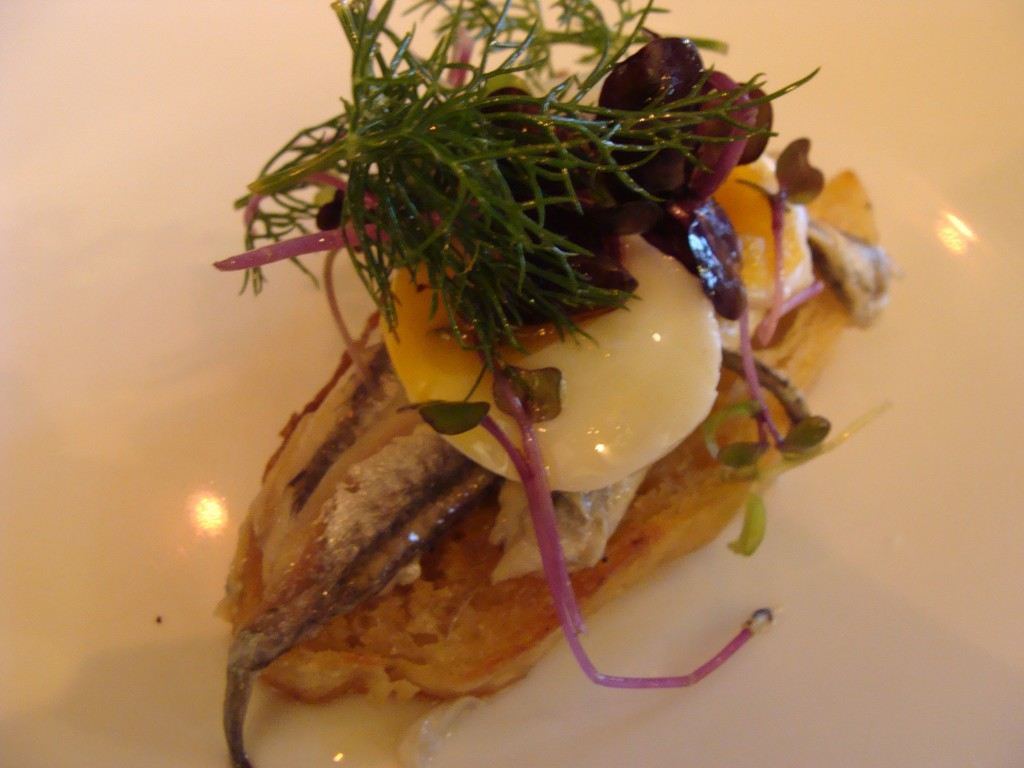 Anchovies with quail egg at Perfect Drop