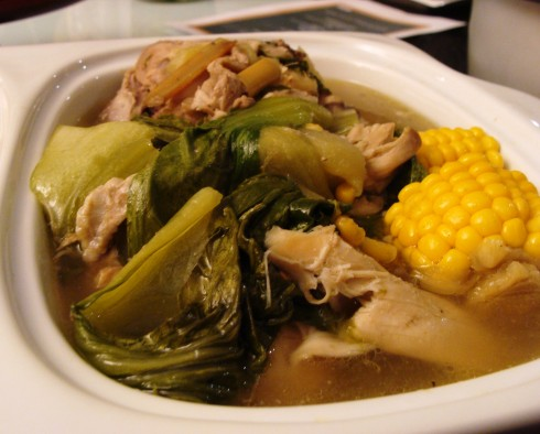 chicken tinola with lemon grass and corn cobs