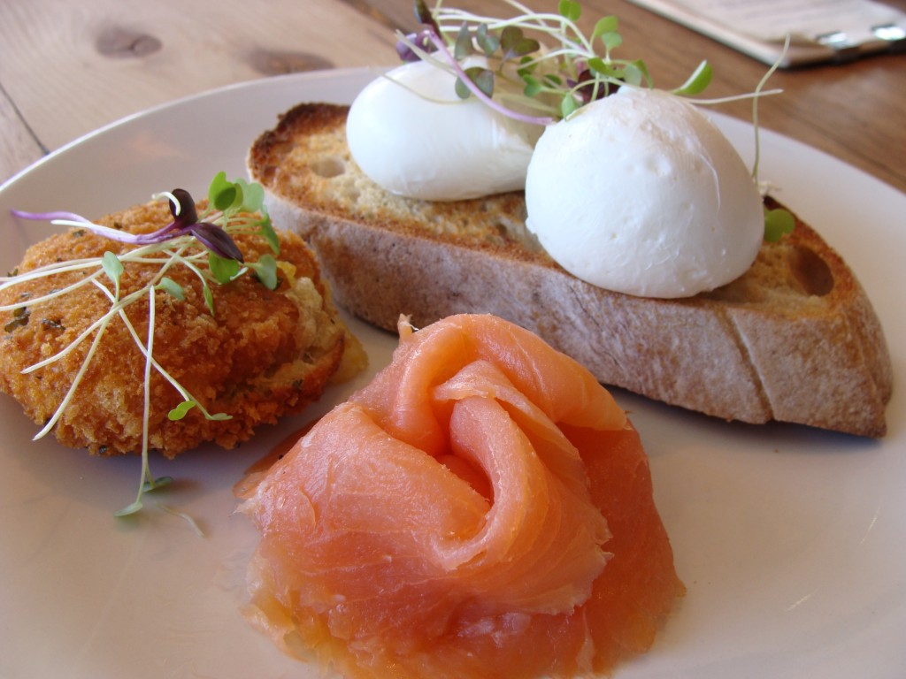 salmon, poached eggs at Pint of Milk