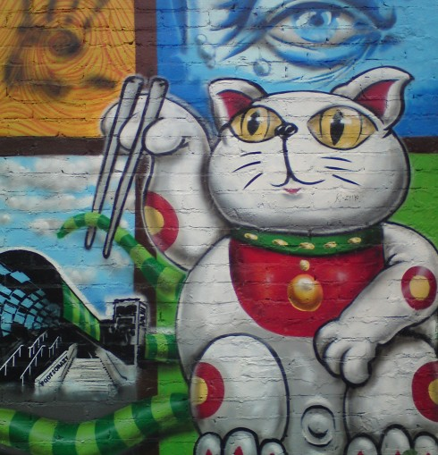 cat with chopsticks at Footscray train station