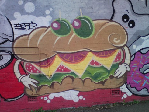 Burger art at Waldies Bakery Seddon