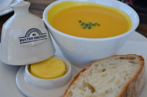 Pumpkin soup at The Butter Factory Myrtleford