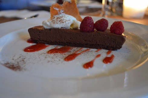 The Whittaker's Dark Chocolate Pavé with rasberries