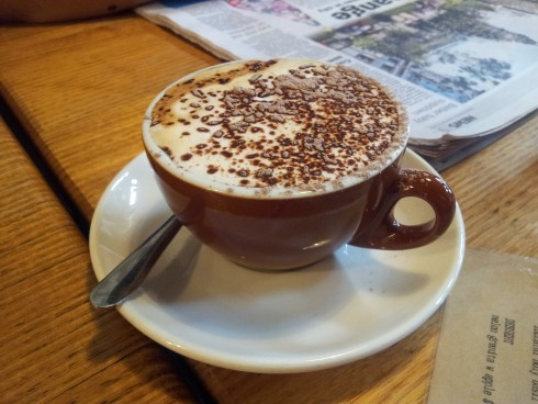 a delightful cappuccino at Tom Phat