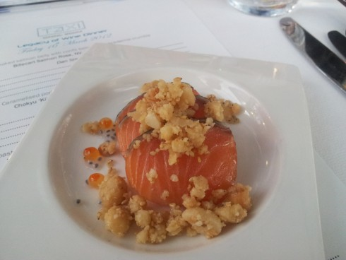 Smoked salmon belly w/h confit tomato and crumble