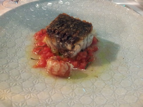 Amazingly crisp Roasted barramundi w/h kiplfler and sauce vierge