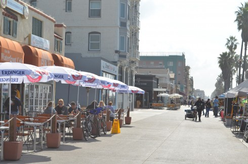 The many bars and cafes at Venice Beach