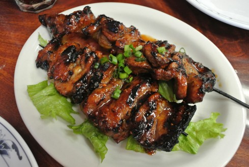 bbq pork skewers at Pinoy Lechon BBQ & Grill