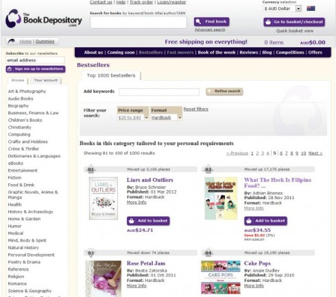 Cookbook in top 100 Bookdepository