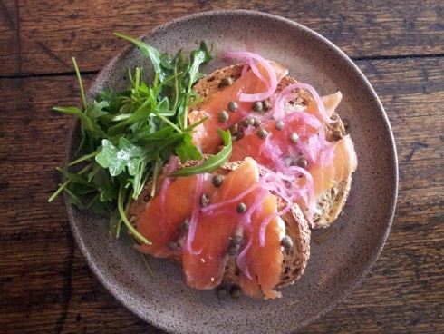 House cured salmon on toast at West 48
