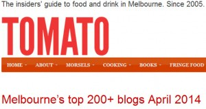 Melbourne Food blog rank april 2014