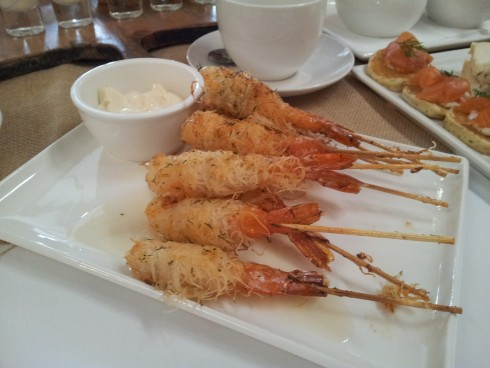 Prawns skewers at Bursaria High Tea