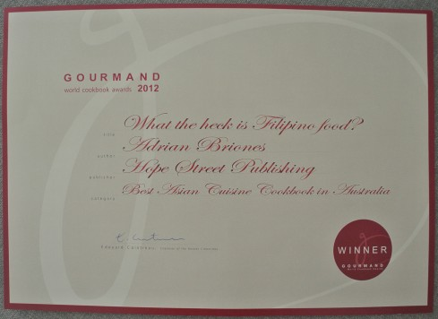 gourmand cookbook award Filipino food