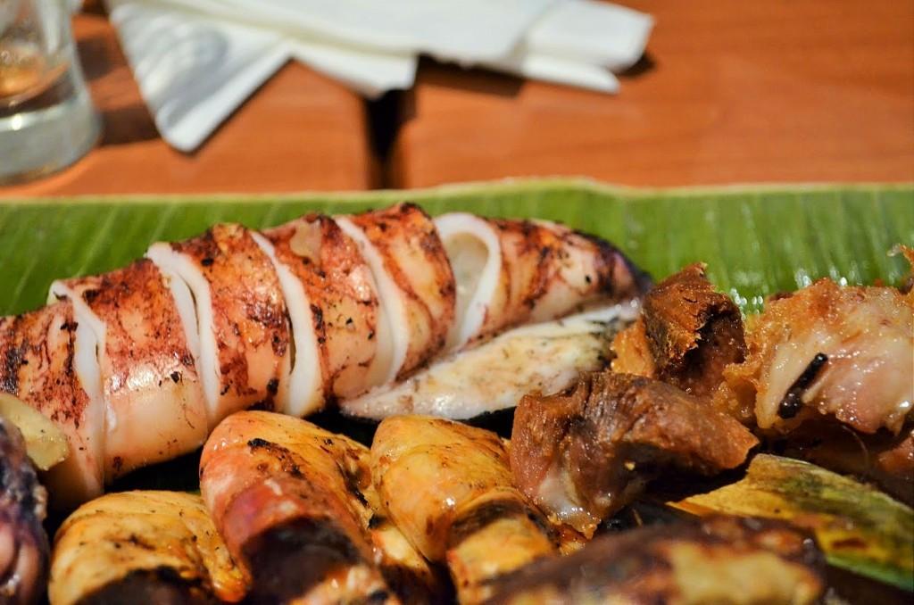 Inihaw na Pusit or Grilled Squid Filipino food